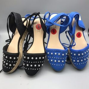 Isaac Mizrahi tie up Sandals blue& black Available